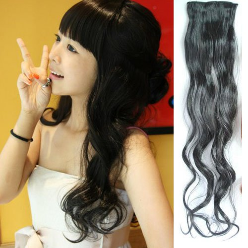 Girl's Clip On Wavy Hairpiece Wig Hair Slice Wig Extensions PP17