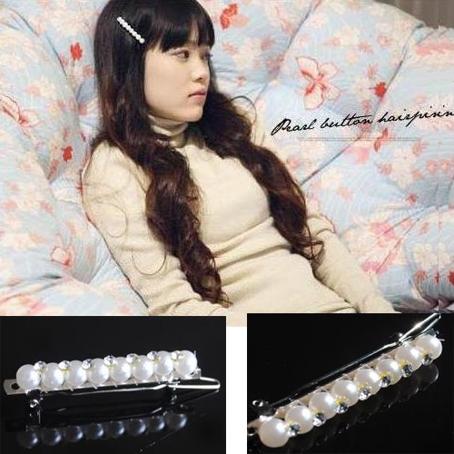 Girl's Lady Woman Artificial Pearl Headband Tie Hairpin PP35
