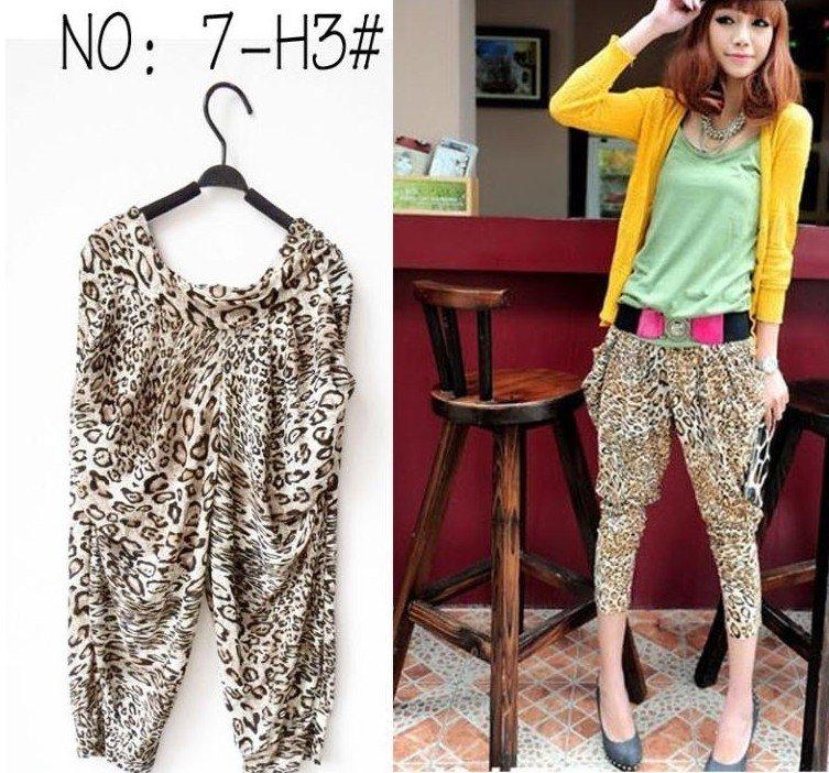 Lady Woman Harlan Leopard Render Pants Ice Silk Trousers Leggings T11
