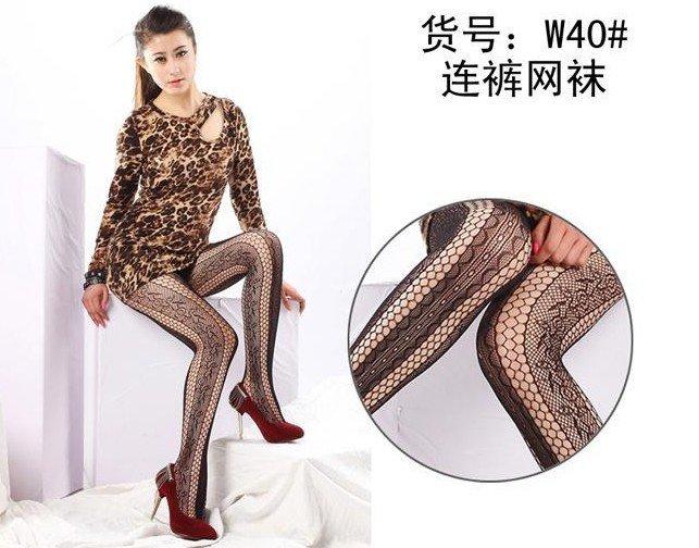 Lady Black Fishnet Stockings Jacquard Sox Pantyhose Pierced Stockings T19