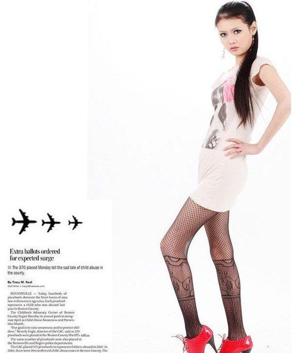 Lady Retro Fishnet Stockings Pantyhose Pierced Stockings T26