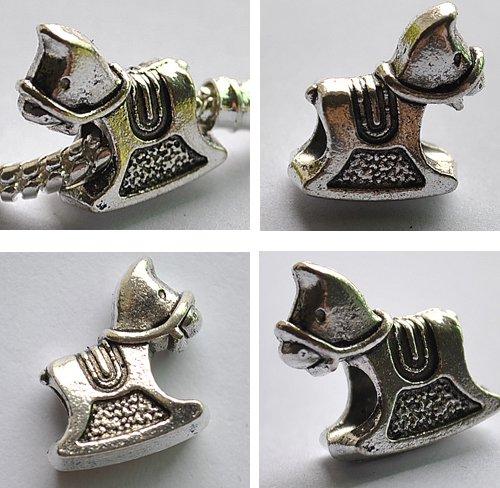 5pcs Horse Spacer Charm Beads Fits Bracelet Chain P159