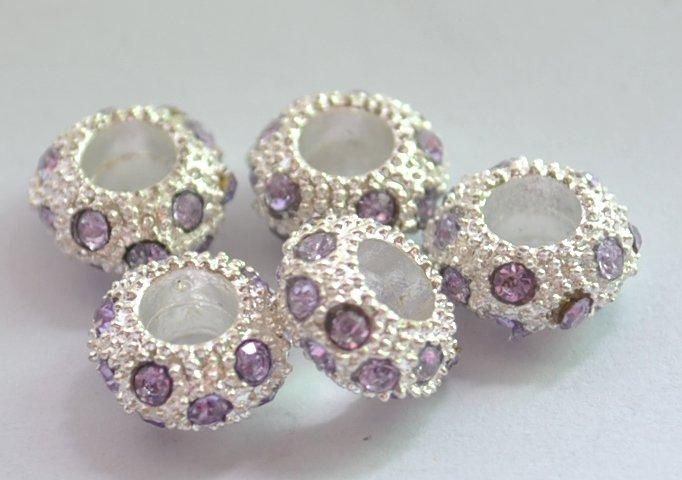 5pcs Silver Spacer With Purplish Rhinestone Charm Beads Fits Bracelet P170