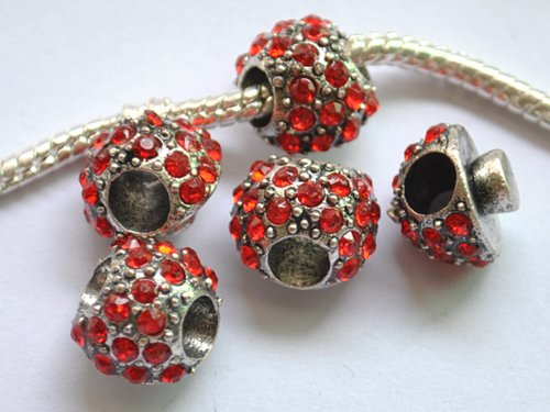 5pcs Silver Mushroom Dark Red Beads Fits Bracelet Chain P173