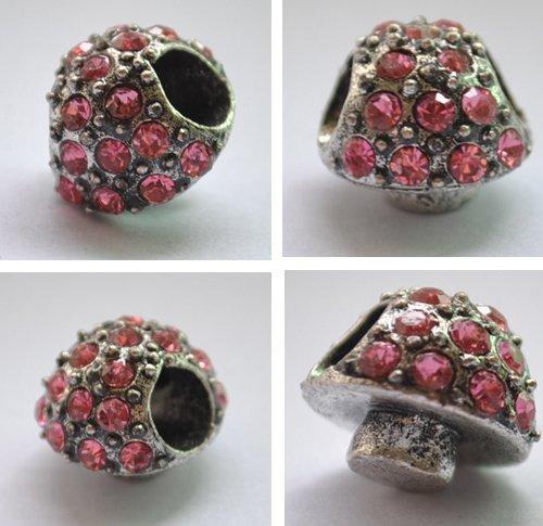 5pcs Silver Mushroom Purplish Red Beads Fits Bracelet Chain P174