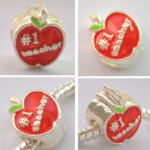 5pcs Silver Red Apple Spacer Beads Fits Bracelet Chain P176