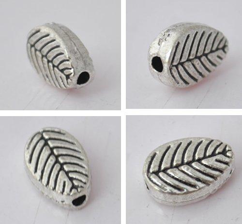 50pcs Silver Alloy Leaf Beads Charm Fits Bracelet P182