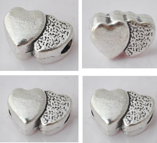 20pcs Silver Alloy Heart Beads Charm Fits Bracelet P183