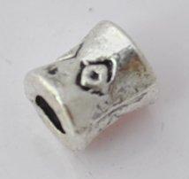 100pcs Silver Alloy Cylinder Beads Charm Fits Bracelet P185