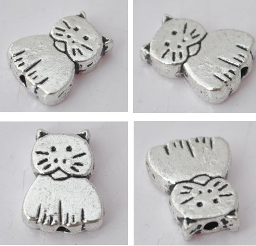 20Pcs Silver Alloy Cat Beads Charm Fits Bracelet P191