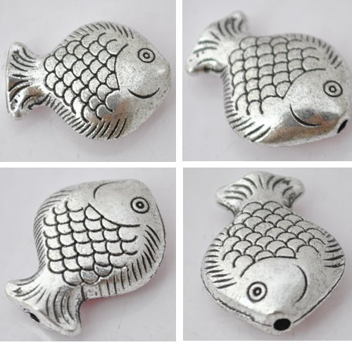 15Pcs Silver Alloy Fish Beads Charm Fits Bracelet P192