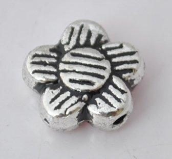 30Pcs Silver Alloy Flowers Beads Charm Fits Bracelet P194