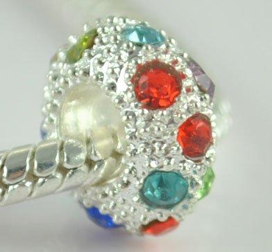 5PCS Rhinestone Beads Charm Fits Bracelet P197
