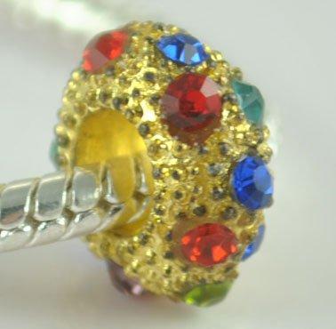 5PCS Rhinestone Beads Charm Fits Bracelet P198