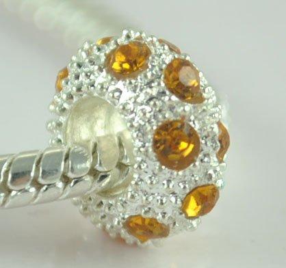 5PCS Rhinestone Beads Charm Fits Bracelet P200