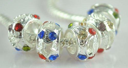 5PCS Rhinestone Beads Charm Fits Bracelet P203