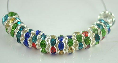 50PCS Rhinestone Beads Charm Fits Bracelet P204