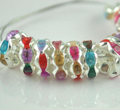 100PCS Rhinestone Beads Charm Fits Bracelet P205