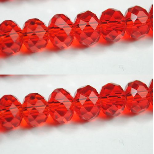 100pcs Faceted Glass Crystal Red Beads 6mm Fits Bracelet C02