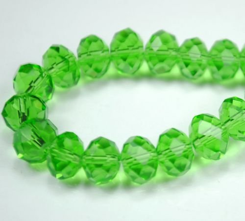 72pcs Faceted Glass Crystal Green Beads 8mm Fits Bracelet C17
