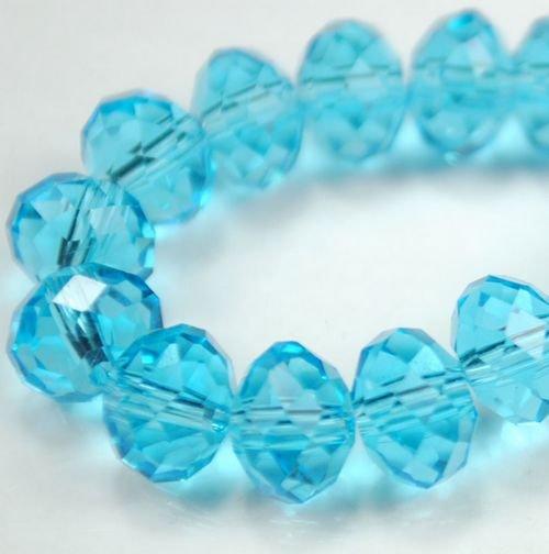 72pcs Faceted Glass Crystal Aqua Beads 8mm Fits Bracelet C21
