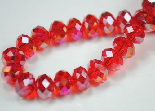 72pcs Faceted Glass Crystal Red AB Beads 8mm Fits Bracelet C27