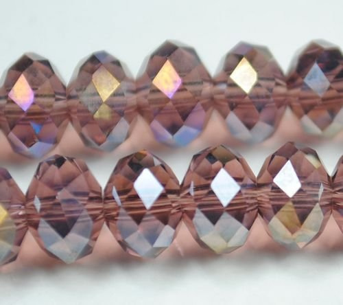72pcs Faceted Glass Crystal Sienna AB Beads 8mm Fits Bracelet C29
