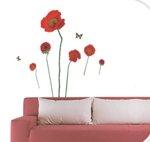 Removable Wall Art Deco Decal Sticker Red Poppy Flower WB26