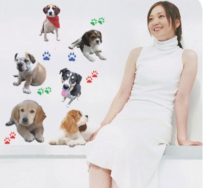 Removable Wall Stickers Art Deco Decal Sticker Lovely Dogs WB29