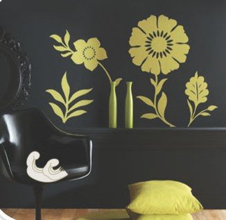 Removable Wall Art Deco Decal Stickers Green FlowersWB35