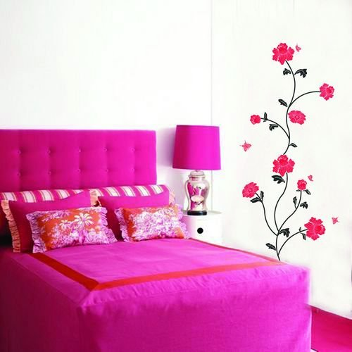 DIY Removable Art Deco Decal  Wall Stickers Red FlowerWB40