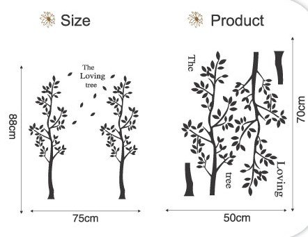 DIY Removable Wall Art Deco Decal Stickers Loving Trees WB50