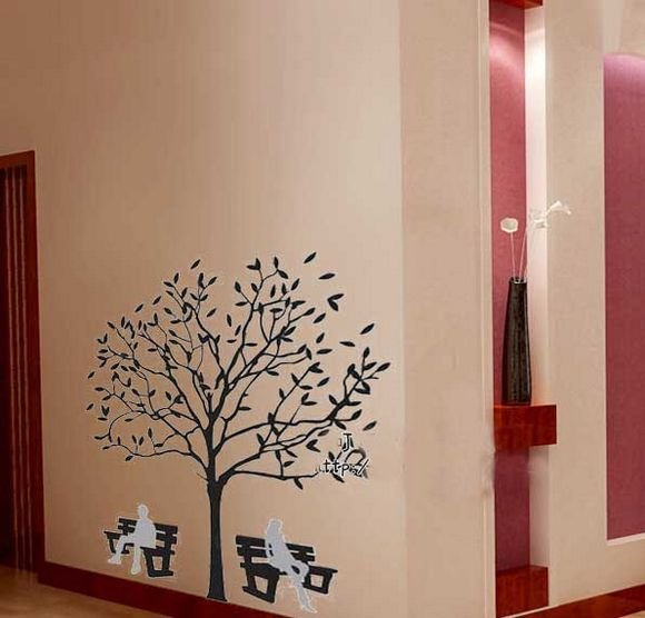 DIY Removable Art Deco Decal Wall Stickers Tree&Chairs WB51