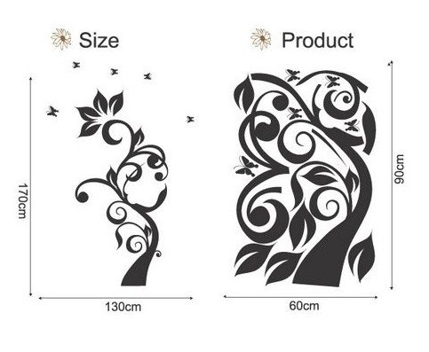 DIY Removable Art Deco Decal WallStickers Tree&Butterfly WB54
