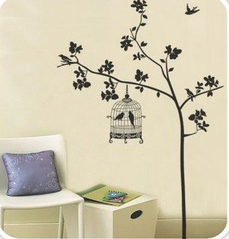 DIY Removable Wall Art Deco Decal Stickers Tree&BirdcageWB59