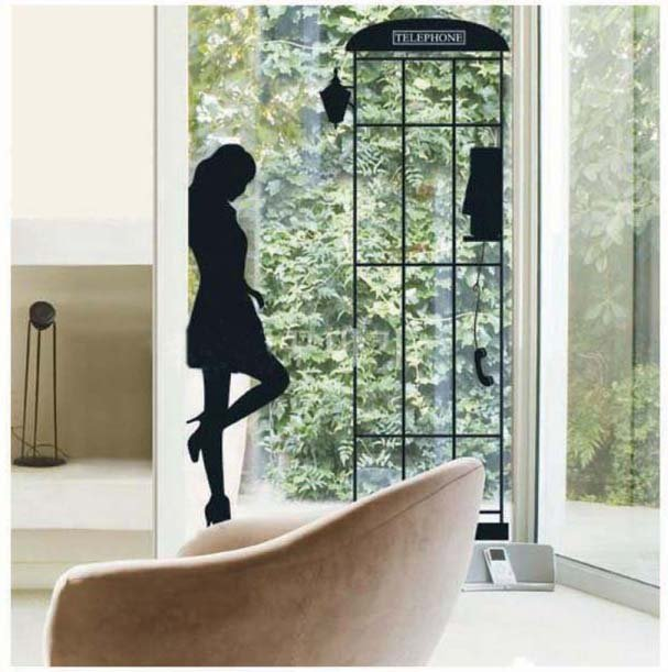 DIY Removable Art Deco Decal Wall Stickers Telephone Girl WB69