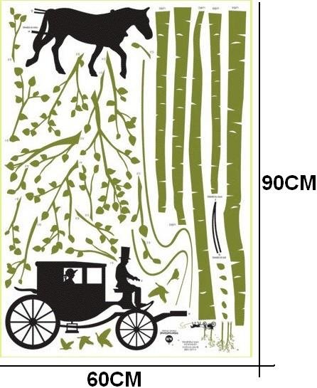 DIY Removable Art Deco Decal Wall Stickers Carriage WB72