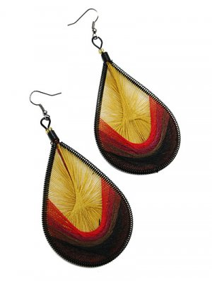 Thread Earring Multi with Mustard and Brown