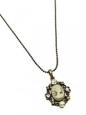 Gold Tone Petite Cameo Necklace Green