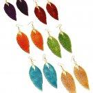 Large Leaf Metal Earrings Orange