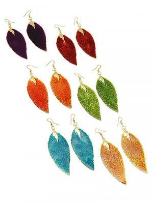 Large Leaf Metal Earrings Blue