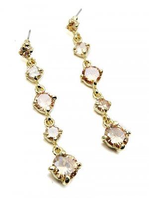 Gold Champagne Rhinestonr Drop Dangle Earrings