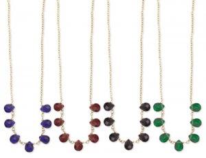 Teardrop Glass Bead Necklace Blue