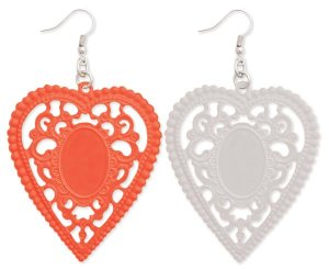 Enamel Heart Cutout Lace Earrings White