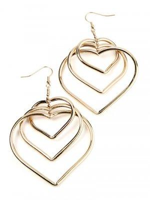 Gold Tone Heart Earrings
