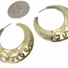 Small Gold Textured Filigree Hoops