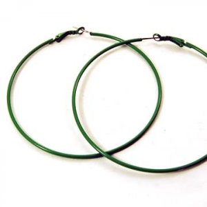 Large Green Hoop Earrings