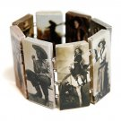 Western Theme Rectangle Link Stretch Bracelet Style 1