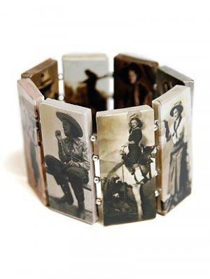 Western Theme Rectangle Link Stretch Bracelet Style 1