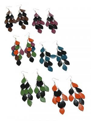 Metal Leaf Chandelier Earrings Purple/Black